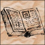 Drawing of an opened spellbook